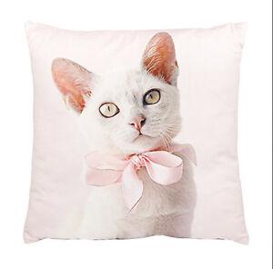 """Pink Kitten Cushion White Cat Ashdene Throw Pillow Velvet Bow 12.5"""" Square New"""