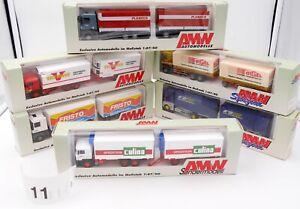 AMW AWM HO 1/87 LOT #11 - 6 x CAMIONS RENAULT MAN SEMI REMORQUES AVEC BOITES