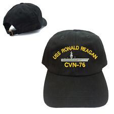USS RONALD REAGAN CVN-76 UNSTRUCTURED 100% COTTON CAP HAT BLACK BUCKLE BACK