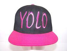YOLO Snapback Cap Hip Hop You Only Live Once Adjustable Hat Black Pink