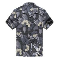 NWT Men Aloha Shirt Cruise Luau Hawaiian Party Black and White Floral
