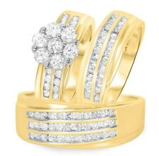 18K Yellow Gold Over 2 Ct Diamond His Hers Engagement Ring Wedding Band Trio Set