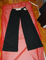 """NWT EVISU DELUXE womens dk charcoal wool loose flare pants ITALY sz 44 W 30"""""""