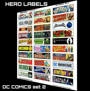 🔥HOT! Comic Book Storage Box Divider Labels DC Comics set 2 HERO LABELS BRAND