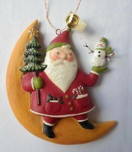 "Bethany Lowe Greg Santa Moon Christmas Tree Ornament Snowman 5"" tall Glitter"