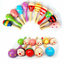 More details for 10/20x colorful wooden maraca rattle shaker musical instrument sand hammer party