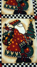 Repeating Santa Claus Fabric Material Christmas Tree Sack of Presents 2.33 Yards