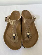 NWOB BIRKENSTOCK Birko-Flor Gizeh Sandals Shoes 39/8-8.5, Gold Leopard Print