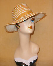 Butterscotch Gold & White Wide Brim Straw Hat