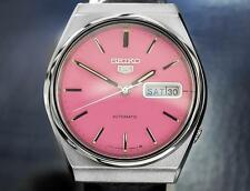 Seiko 5 Mens Automatic Watch With Beautiful Pink Dial 1970s Made in Japan TD611