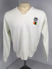 VTG '87 John Deere 150 Year White V-neck L/S Super Soft Collectable Sweater Sz L