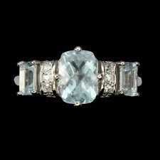 Unheated Antique Aquamarine 8x6mm Cz White Gold Plate 925 Sterling Silver Ring 7