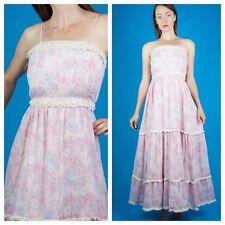 BOHO ROMANCE Vtg 70s Crochet Cotton Summer Pink Lavender Lace Maxi Dress XS/S