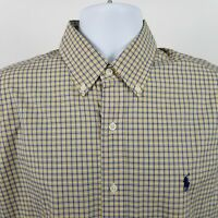 RECENT Ralph Lauren Mens Yellow Blue Check L/S Dress Button Shirt Sz Medium M