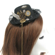 Vintage Victorian Steampunk Gear Wing Lace Hat Hair Clip Gothic Hairpin Headwear