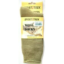 SPORTZTREK WOOL WORK SOCK KHAKI SIZE 7-11 UK FLAT SEAMS CUSHIONED HEEL