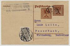 1923 AUSLANDSKARTE, WIEN nach FEUERBACH (Deutschland)