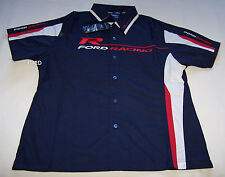 Ford Racing Logo Ladies Navy Blue Embroidered Pit Crew Shirt Size 8 New