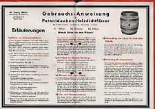 LEIPZIG, Gebrauchs-Anweisung 1941 für Patent-Dauben-Holzdicht-Fässer M.G. Müller