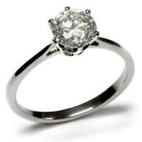 Stainless Steel 7mm Round Cut CZ Classic Engagement Ring Size  FSH A4