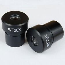 Pair 2pc WF20X 20x WF20 Biological Compound Binocular Microscope Eyepieces 23mm