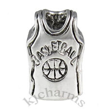 Basketball Jersey Cloth Silver European Spacer Charm Bead For Bracelet EB652