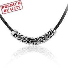 Vintage Pierced Flower Titanium Stainless Steel Unisex Leather Necklace