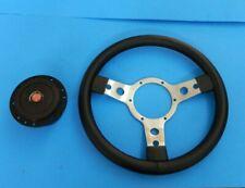 """New 13"""" Vinyl Steering Wheel & Adaptor Austin Healey Sprite 1958-63 Polished"""