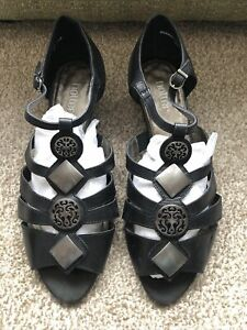 Hotter Black Surabaya Black Sandal Shoes Size 7.5 EXF