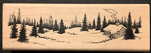 Inkadinkado Winter Scene Snow Forest Cabin Rubber Stamp