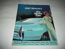 """1967 MERCURY PRESTIGE SALES BROCHURE """"THE MAN'S CAR"""" MARQUIS COLONY PARK CYCLONE"""