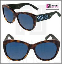 65006e8d7e50 CHRISTIAN DIOR INEDITE Brown Havana Green Rubber Blue Cat Eye Sunglasses  BPDKU