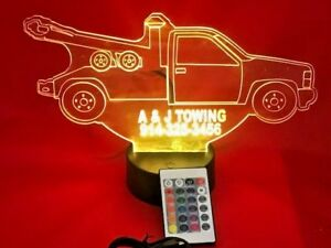 Tow Truck Light Up Lamp LED Personalized Free Engraved Wrecker Truck With Remote
