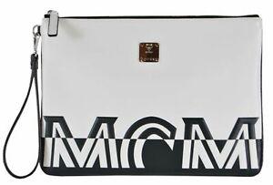 $495 New MCM Contrast Logo Lambskin Leather Medium Purse Wristlet Pouch NEW