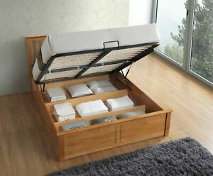 Melbourne Oak Wooden Ottoman Storage Bed 4ft6 Double Bed and 5ft King Size Bed