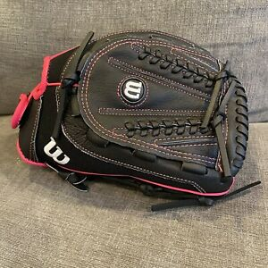 "Wilson Flash 12"" Fastpitch Softball Baseball Glove All Positions RHT Pink Black"