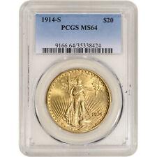 1914-S US Gold $20 Saint-Gaudens Double Eagle - PCGS MS64