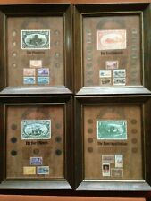 New ListingWestern Americana Vintage Stamp & Coin Collection Set of 4, wood-framed
