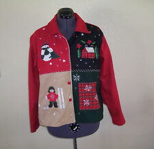 Womens Take Two Clothing Embroidered & Appliqued Winter Wool Blend Jacket Large