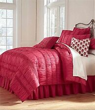 STUDIO D Serenade Fuchsia Pink Quilted & Ruched Cotton Euro Sham 1st Qual NEW