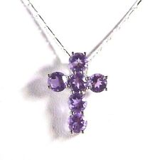2.76ct Natural Purple Amethyst 925 Sterling Silver Cross Pendant & Chain
