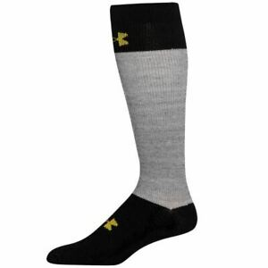 UNDER ARMOUR UA Hockey OTC Black Grey Cut Resistant Socks Youth L 1-4 Wmns 4-6.5