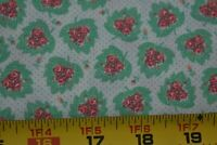 By 1/2 Yd, Vintage, Pink Flowers on Green & Cream Cotton, Wamsutta/Botsford,P964