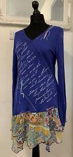 Size 14 Joe Browns Blue Jersey Floral Chiffon Summer T-shirt Dress Print Top