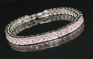 Cubic Zirconia Pink Stone Link tennis Bracelet White Gold Plated 14 MB 1