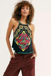 New Free People Heat Wave Embroidered Tank Top Vest Size Medium Free Post