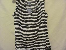 Womens' DAISY FUENTES Blk/White Printed Knit Sleeveless Top Size Large NWT