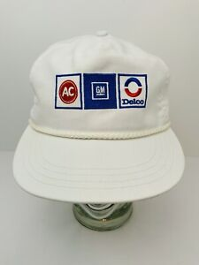 Vintage AC GM Delco Cap Rope Hat White Embroidered Leather Strap USA