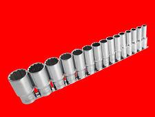 "15 tlg. Lange 1/2"" Stecknuss Steckschlüssel Satz 12-KANT Nuss Gr. 10mm - 32mm NE"