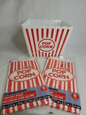 Plastic Popcorn Bowl Large Reusable Tub Container Bucket With Disposable Bags